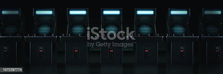 istock vintage arcade game machine. 3d rendering 1072297774