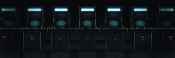 vintage arcade-spiel-maschine. 3d-rendering - arkade stock-fotos und bilder