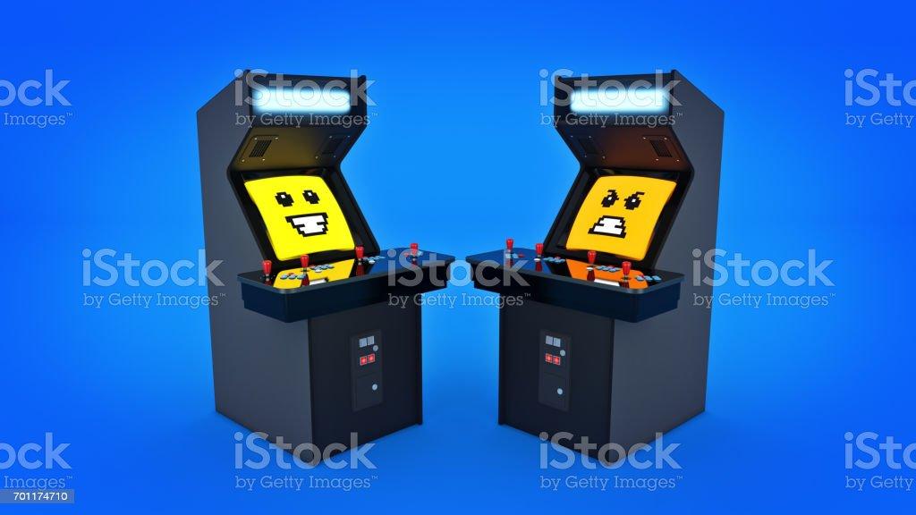 vintage arcade game machine. 3D rendering