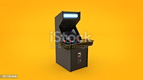istock vintage arcade game machine. 3D rendering 701181546