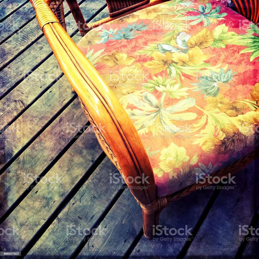 Vintage armchair with floral design zbiór zdjęć royalty-free