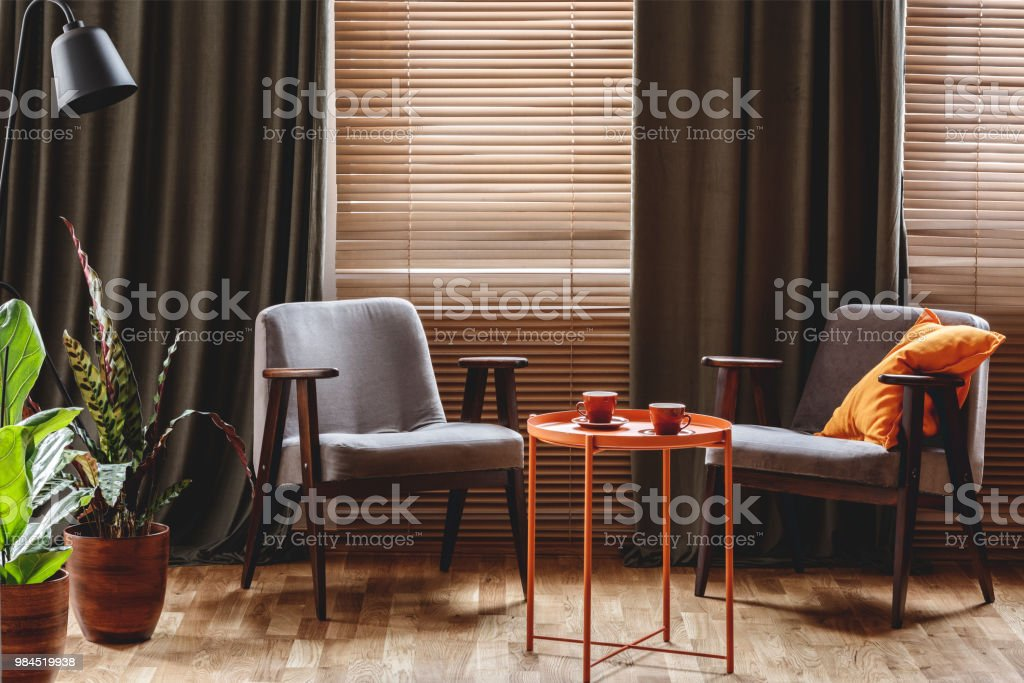 Vintage armchairs, orange coffee table with two cups, plants standing by the window with curtains and blinds in a living room interior stock photo