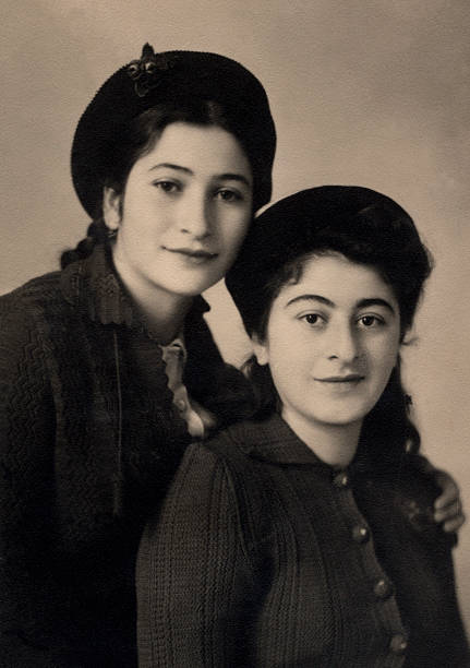 Vintage Armenian sisters. A vintage photo portrait from 1951 of Armenian sisters. armenian ethnicity stock pictures, royalty-free photos & images