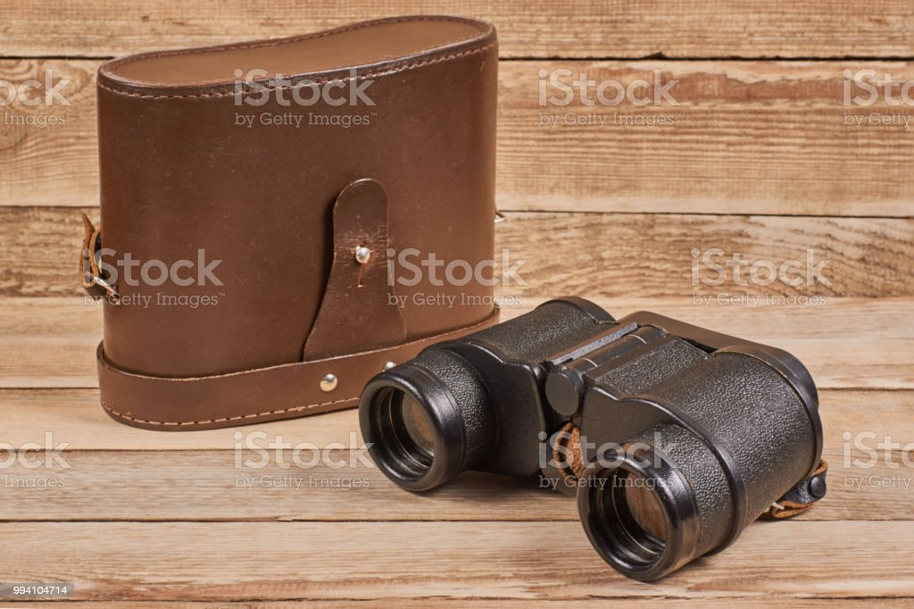 Vintage army binoculars stock photo