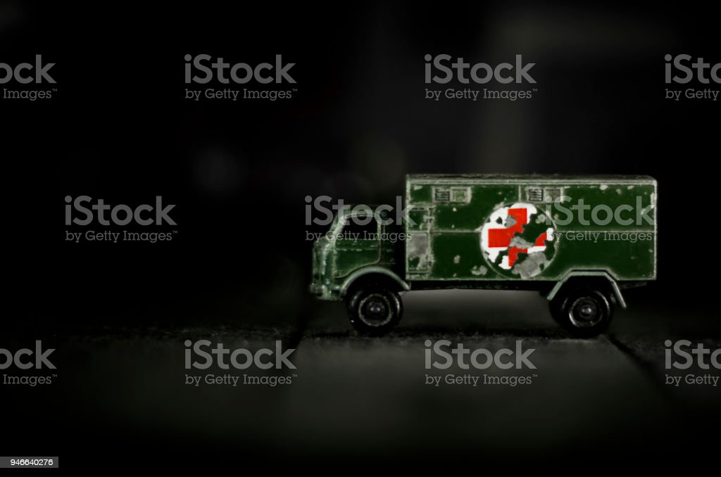 Vintage army medical truck stock photo