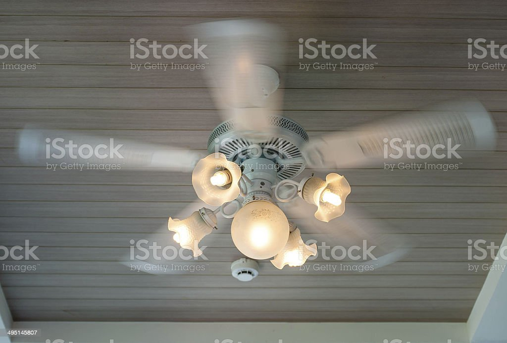 Vintage Art Deco Ceiling Lamp And Fan Fixture In Hotel Stock Photo ...