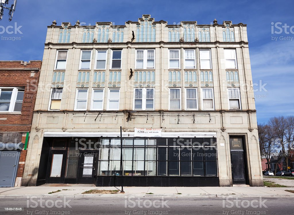 Vintage Art Deco commercial building facade in West Englewood, C royalty-free stock photo