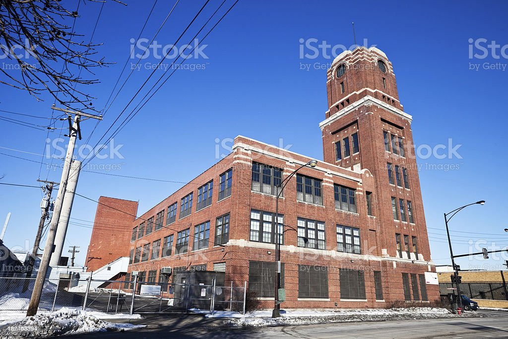Vintage Art Deco Factory Building in Chicago West Side stock photo