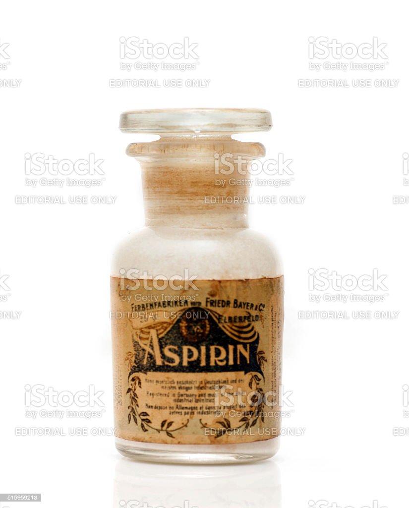 Vintage aspirin bottle stock photo