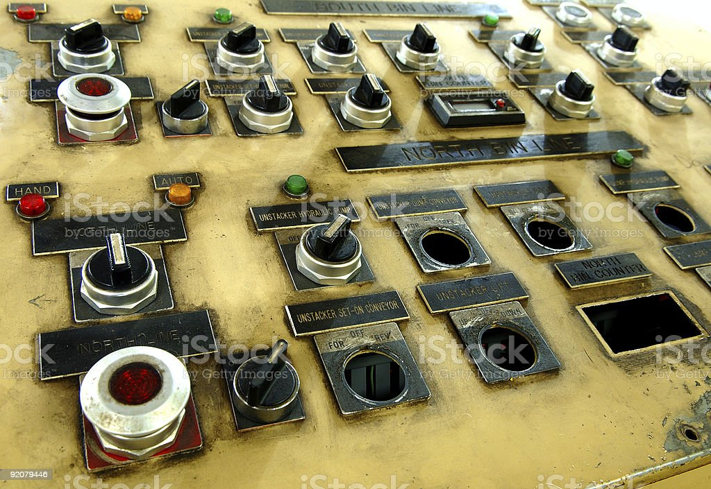 Vintage Assembly Line Control Panel royalty-free stock photo