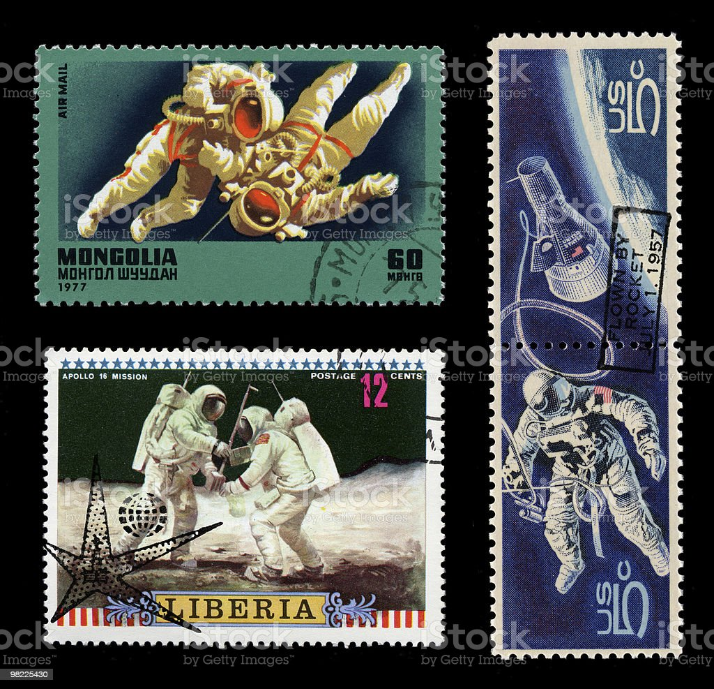 Vintage Astronaut Stamps royalty-free stock photo