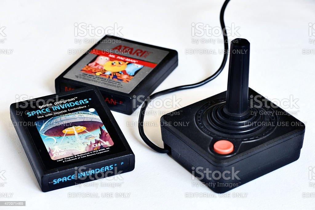 Vintage Atari 2600 video game cartridges with joystick stock photo