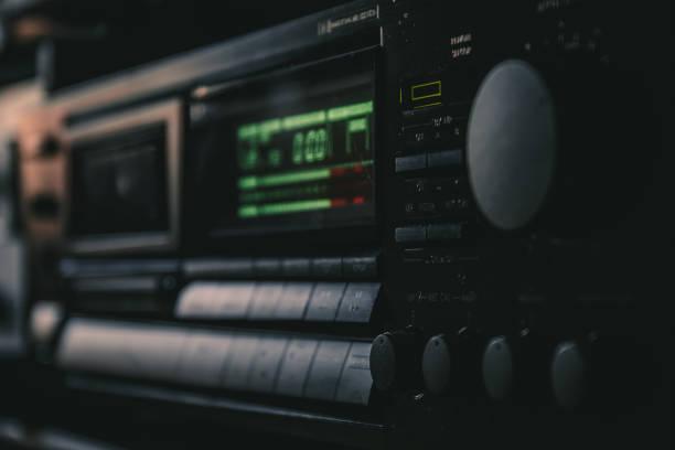 Vintage audio cassette deck. Hifi tape recorder. Retro analog music, indoor hobby concept. Shallow depth of field Vintage audio cassette deck. Hifi tape recorder. Retro analog music, indoor hobby concept. Shallow depth of field. analogue audio storage media stock pictures, royalty-free photos & images