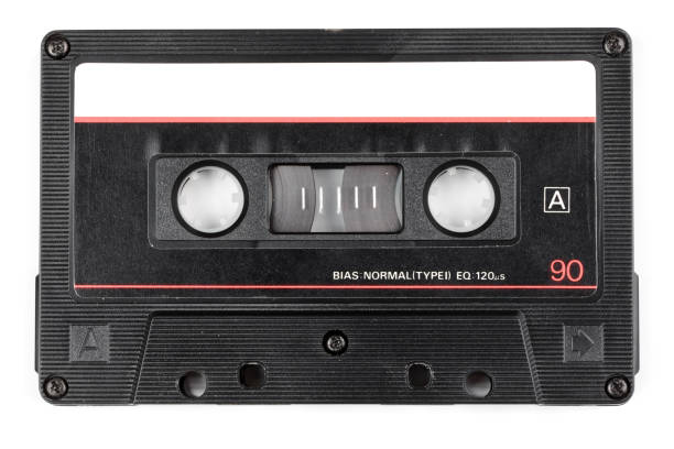 Vintage audio cassette isolated stock photo