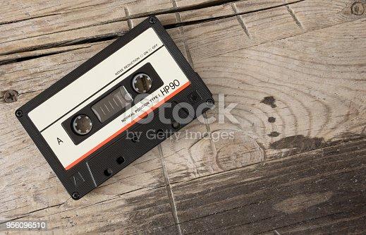 close up of retro music audio tape