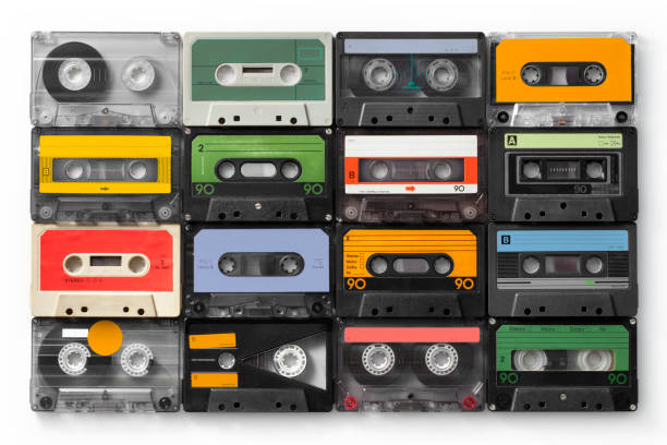 Vintage audio cassettes. Photo with clipping path. Vintage audio cassettes. Photo with clipping path. audio cassette stock pictures, royalty-free photos & images