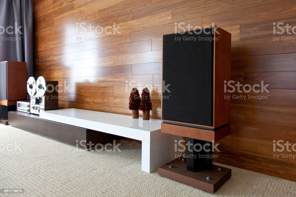 Vintage audio system in minimalist modern interior stock photo