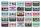 25 audio tapes isolated on white background.