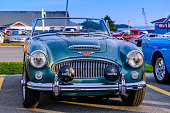 Dartmouth, Nova Scotia, Canada - July 30, 2015 : Vintage Austin Healey 3000 MK III on display at summer weekly A&W Cruise-in Woodside Ferry Terminal parking lot, Dartmouth, Nova Scotia, Canada.