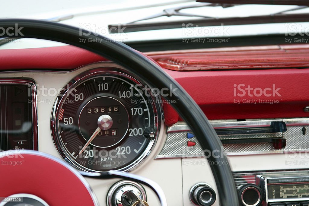 Vintage automobile dashboard royalty-free stock photo
