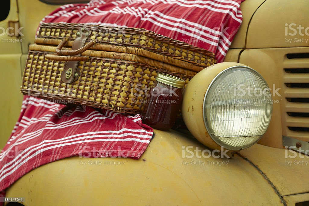 Vintage Automobile with Picnic Basket, Food, Outdoor royalty-free stock photo