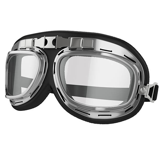 Vintage aviation bike goggles stock photo