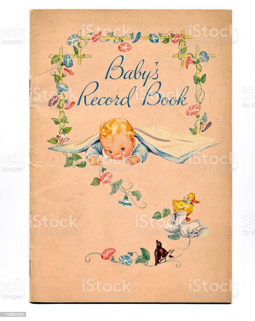 Vintage Baby Book stock photo
