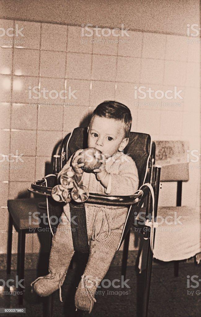 Vintage baby boy photo of the sixties stock photo