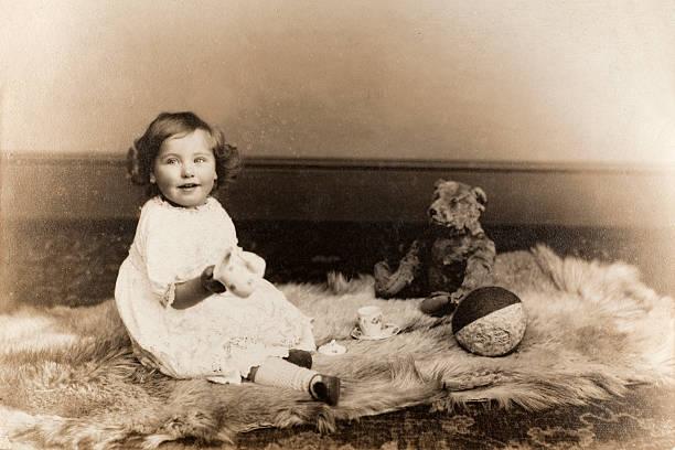 Vintage Baby Girl Portrait stock photo