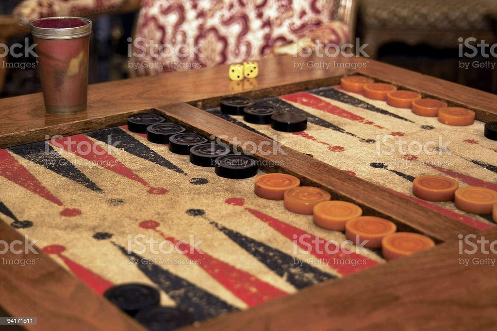 Vintage Backgammon Set stock photo