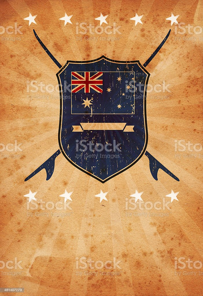 vintage background with australian surf shield stock photo