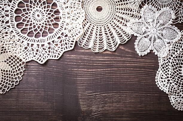 vintage background with white crochet lace - vintage spitze stock-fotos und bilder