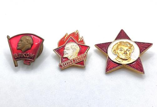 USSR vintage badges: Komsomol badge, pioneer badge, October badge