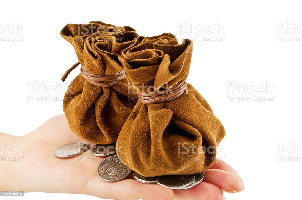 vintage bag for the money stock photo