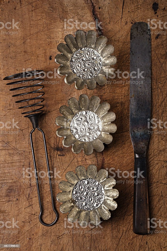 Vintage  Baking utensils - spatula, tins and moulds stock photo