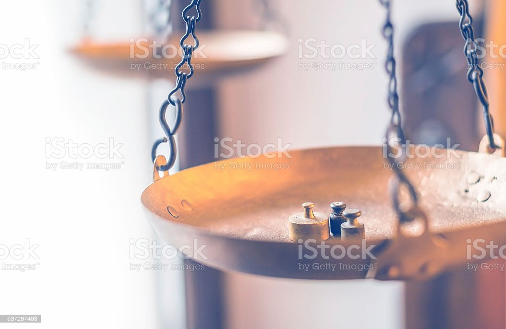 Vintage balance scales stock photo