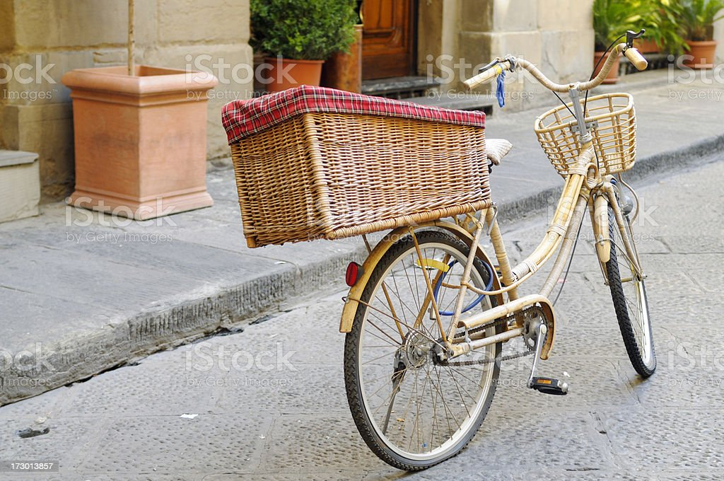 Vintage bamboo Bycicle Urban Scene royalty-free stock photo