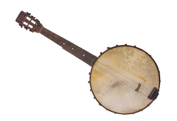 Vintage Banjo Vantage Banjo -  Rim Made From A Cornsifter string instrument stock pictures, royalty-free photos & images