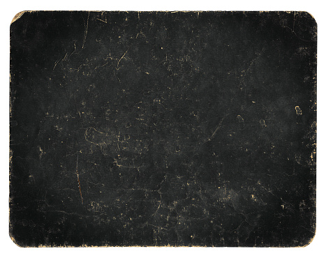Vintage banner or background isolated on white with clipping path, rich grunge texture, antique paper mounted onto cardboard, suitable for Photoshop blending purposes, hi res.