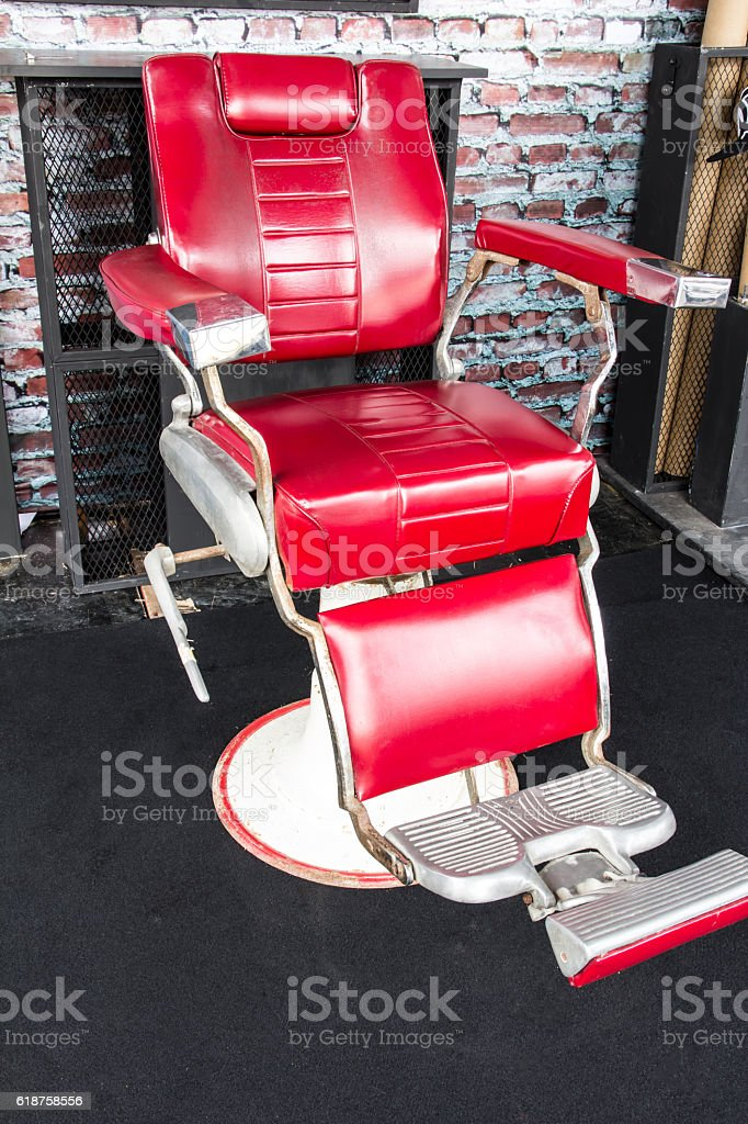 vintage barber chair stock photo