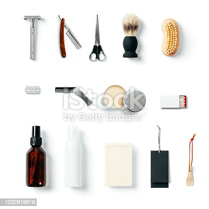 1126324804 istock photo Vintage barber shop tool elements 1032616916