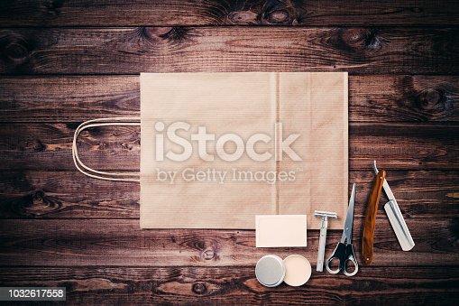 696318954 istock photo Vintage barber shop tool elements 1032617558
