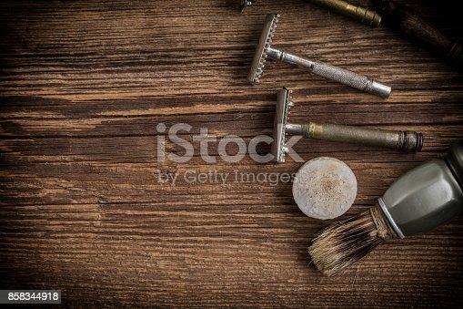 1131824191 istock photo Vintage barber shop tools. 858344918