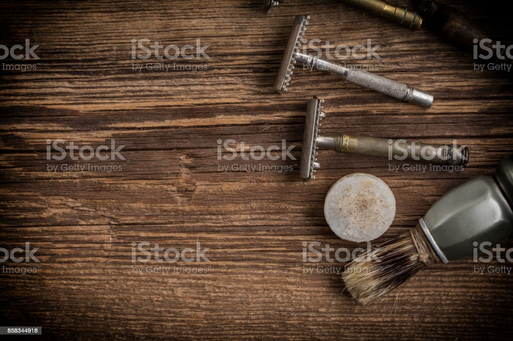 Vintage barber shop tools. stock photo