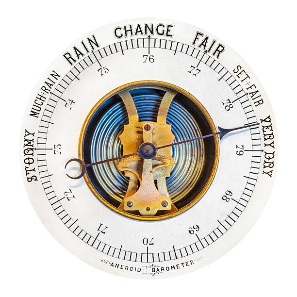 vintage barometer isolated on white - barometer bildbanksfoton och bilder