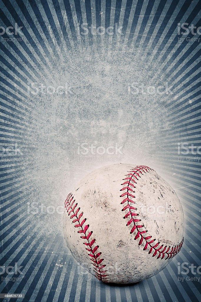 Vintage baseball and blue background stock photo