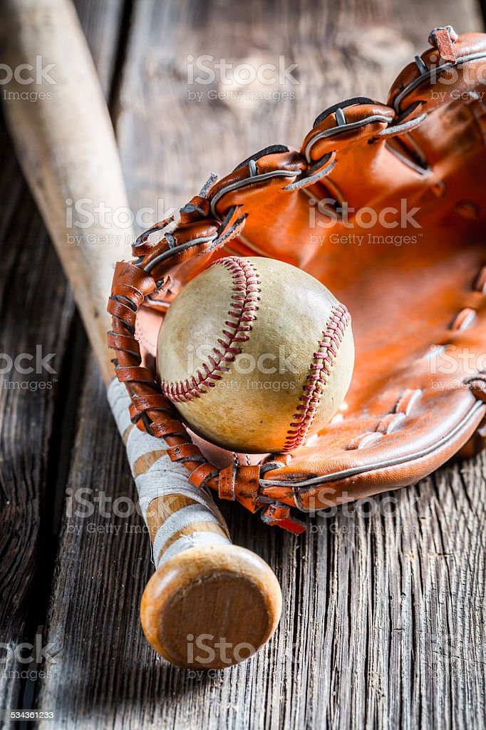 Vintage Baseball bat and ball stock photo