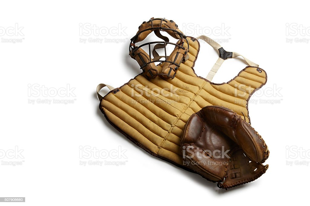 Vintage baseball catchers equipment. stock photo