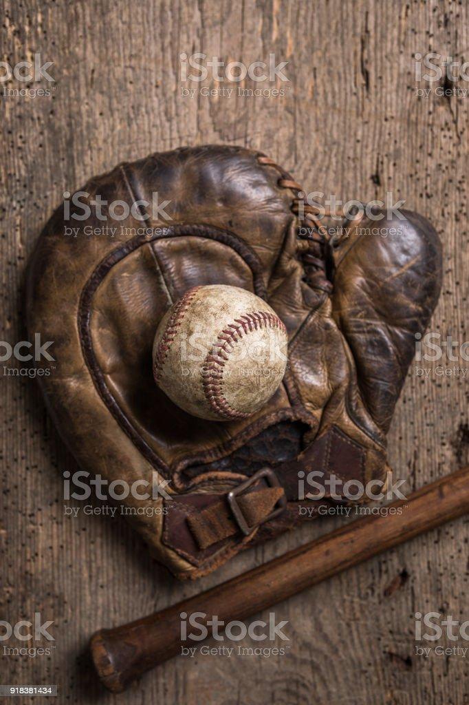Vintage Baseball Equipment - Royalty-free American Culture Stock Photo