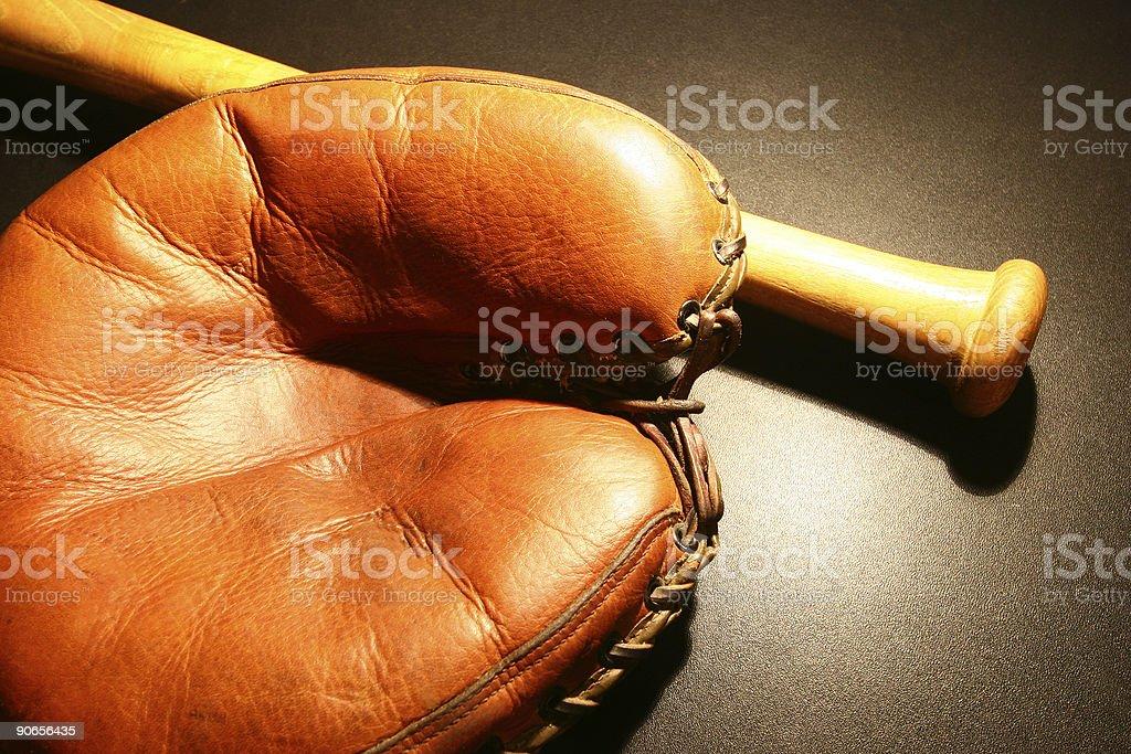 Vintage baseball glove & bat #3 royalty-free stock photo
